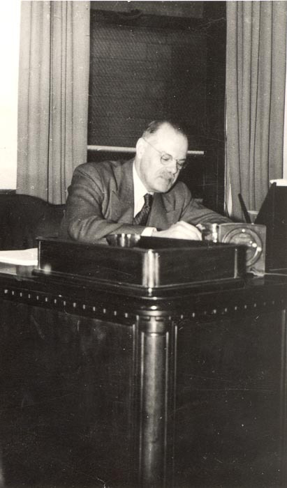 Ernest E. Rutherford at his desk (Bank of Montreal)